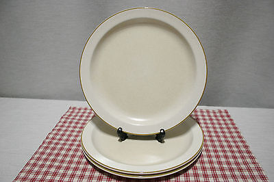 LOT of Four Stonehenge Midwinter Dinner Plates Ivory background Olive green trim