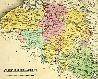 Original Antique Map - 1827 Netherlands Europe - Hand Colored Map - A Finley