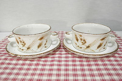 Two Midwinter England WILD OATS Flat cream soup bowls with under plates. Mint.