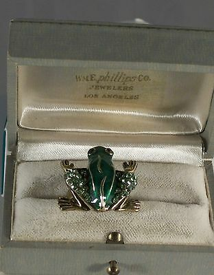 Green Enamel and Crystal Gold Plated Frog Ring Size 6 1/2 - 7