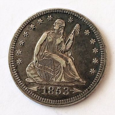 1853 Liberty Seated Arrows Quarter