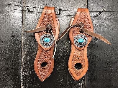 2 Pc Piece Slobber Straps - Leather - Mecate - Old Silver Turquoise Conchos