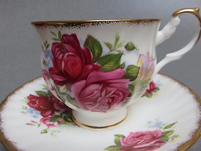 Queen's China Rosina Centenary Dear Cup Saucer Pink Roses Country House