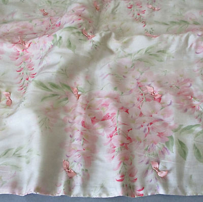 "Antique c1920s Watered SILK 22"" Padded Liner PINK Wisteria Flowers Tufted BOWS"