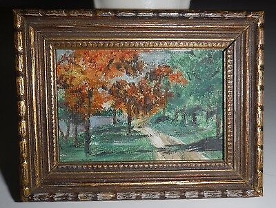 Vintage Very Small Orig Oil Painting Oil Painting Fall Landscape Ornate Frame