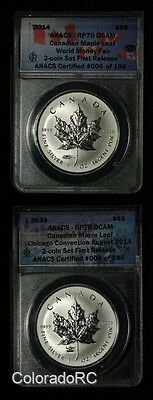 2014 $5 Canadian Maple Leaf 2-Coin Set First Release - ANACS RP 70 DCAM
