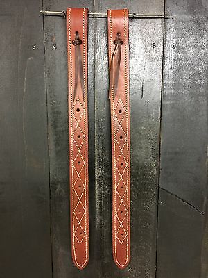 Rear Billet (Flank Strap) Set- Medium Oil -Harness Leather Double Stitched (New)