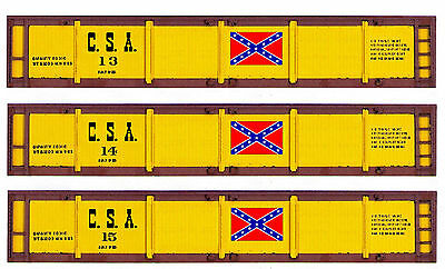 Three TT scale printed Confederate gondola sides - 3 different car numbers