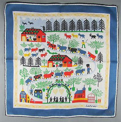 Designer Lehner Switzerland 'Cows heading up the Mountain' Vintage Handkerchief