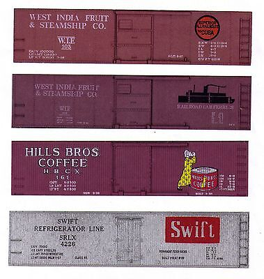Four TT boxcars West India Fruit, Hills Bros Coffee, Swift Silver printed sides