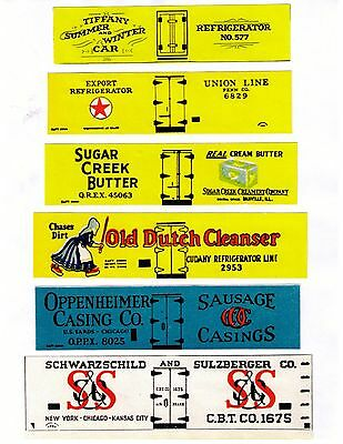Old Time set #1 boxcar reefers, TT scale printed sides inc. TIFFANY, Old Dutch