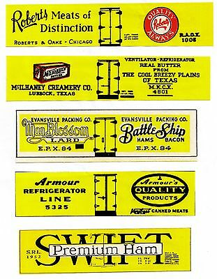 Old Time set #2 boxcar reefers, TT scale printed sides inc. Roberts Meats