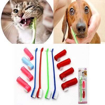 CatDog Soft Teeth Cleaner Pet Zahnbürste Set Oral Gummi Massager Double Head neu