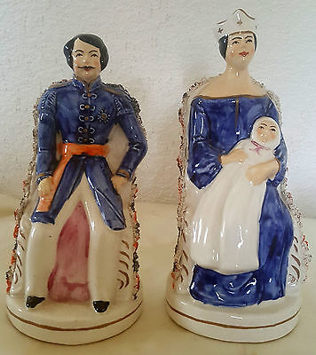 Vintage Pair of Staffordshire Figures - Prince Albert & Queen Victoria with Baby