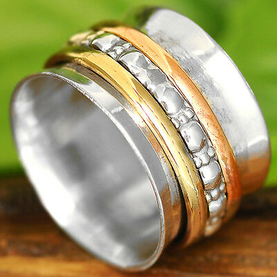 Solid 925 Sterling Silver Spinner Ring 3 Tone Spinning Wide Band Size 6 7 8 9 10