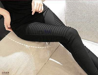 Women's Ladies Slim Pencil Pants Skinny Pleated Trousers Leggings Jeans YF@