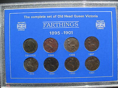 Complete Set of Old Head Queen Victoria Farthings 1895 - 1901. Cased.