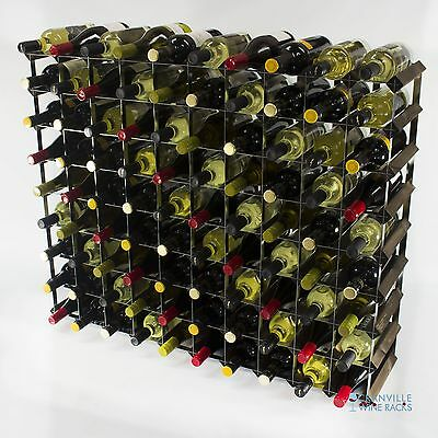 Classic 90 bottle dark oak stained wood and metal wine rack self assembly
