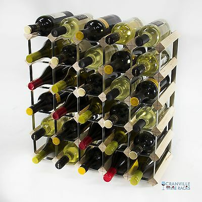 Classic 30 bottle pine wood and metal wine rack ready to use