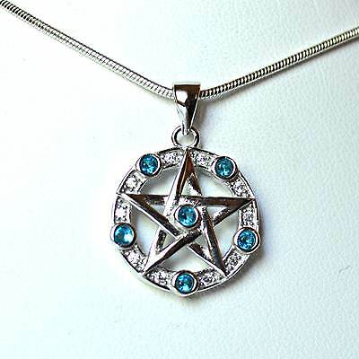 925 Sterling Silver Blue CZ Pentagram Pendant 16mm~Wicca~Crystal~Pagan Jewellery