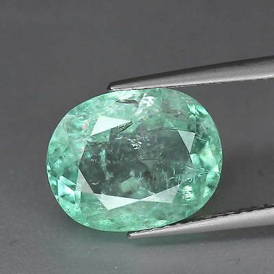 "4.35cts""Certified"" Brazil"" Baby Green"" Natural Beryl"" Oval Cut"" PR1333"