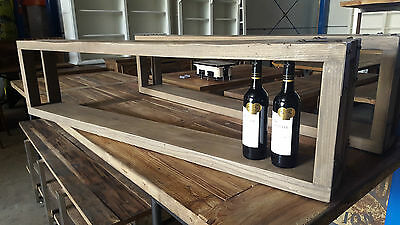 New French Industrial Recycled Rustic Cafe Restaurant Wine Rack Shelf Display
