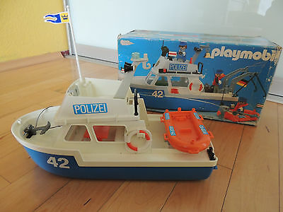 Vintage Playmobil System 3539 Polizeiboot 42 in ovp