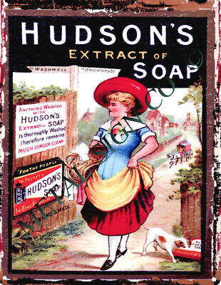 HUDSONS EXTRACT OF SOAP METAL SIGN RETRO VINTAGE STYLE SMALL bathroom  barbers