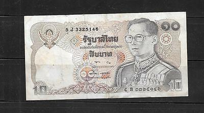 Thailand #98 1995 Vg Circ 10 Baht Banknote Paper Money Currency Bill Note