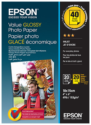2x 20 Epson Value Glossy Photo Paper 10x15 cm, 183 g   S 400044