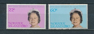 Norfolk Island 271-2 MNH, Queen Mother, 1980