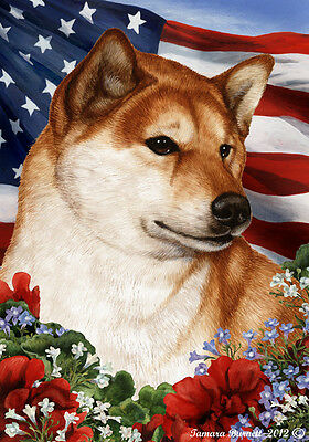 Garden Indoor/Outdoor Patriotic I Flag - Shiba Inu (Light) 163251