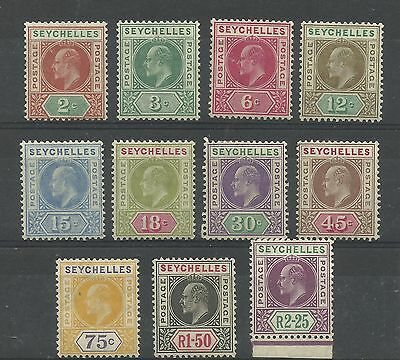 Seychelles Set of 11, 1906 Issues Sg 60-70 Multi Crown CA, perf 14, Mounted Mint