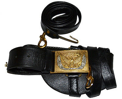 American Civil War Union Officers Leafed Leather Sword Belt & Square Buckle,
