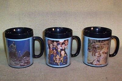 3 Different Vintage NORMAN ROCKWELL BOY SCOUTS BSA Thermo Serve Mugs
