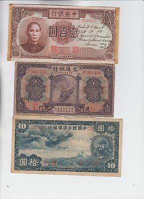 China Paper Money  3 notes low grade and up