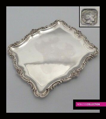 LUXURIOUS ANTIQUE 1890s FRENCH STERLING SILVER LIQUOR SERVING TRAY Rococo style