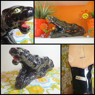 """VTG 1960s MID Century Modern Prowling Panther Cat Redware Art Pottery Japan 13"""""""