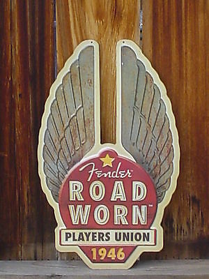 """Large Fender Guitar,Metal Tin Advertisement Sign """"Road Worn Players Union 1946"""""""