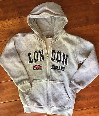Boys Girls grey hooded sweatshirt LONDON ENGLAND ✿ size 5/6 full zip hoodie