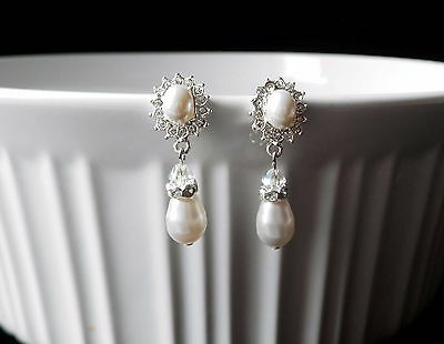 Bridal Pearl Drop Dangle Earrings with Clear Crystal, White Pearl  E3179