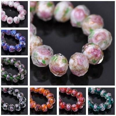 10/20pcs Rondelle Faceted Crystal Glass Rose Flower Lampwork Beads Spacer Crafts