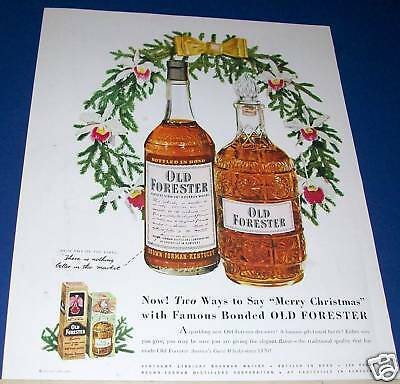 1951 Old Forester Kentucky Whisky Christmas Wreath Ad