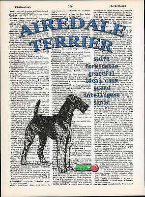 Airedale Terrier Dog Traits Altered Art Print Upcycled Vintage Dictionary Page