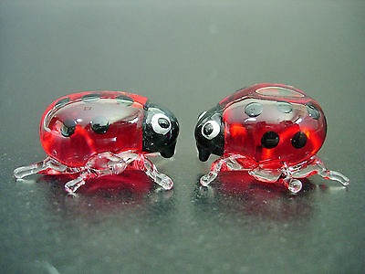 2 Small Glass LADYBIRDS, Bugs, Red & Black Spotted Insects, Glass Ornaments,Gift