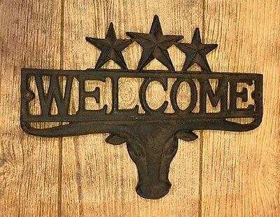 """Cast Iron Western Longhorn Steer 3 Stars Welcome Plaque 13"""" Wide 0170S-08680"""