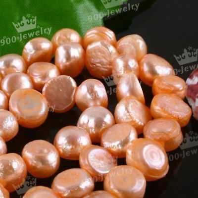 "9-10Mm Cultured Freshwater Orange Pearl Beads 15""l"