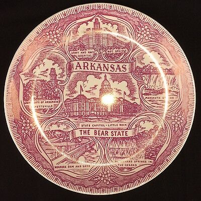 Vintage Arkansas The Bear State Collector Plate Purplish Red
