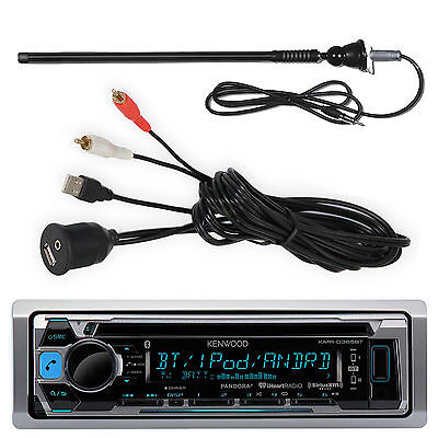 Kenwood KMR-D365BT Marine CD  Bluetooth Stereo , USBAUX Cable, Marine Antenna