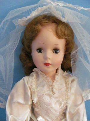 """Vintage 1955 American Character 15"""" Bride Doll With Vinyl Arms Near Mint"""